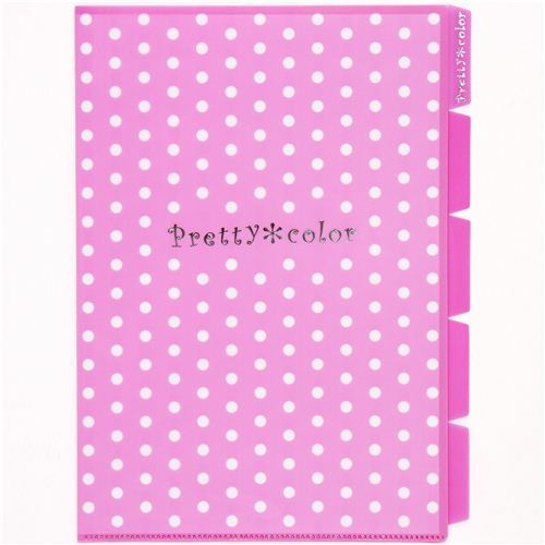 pink spotted A4 plastic file folder 5-pocket