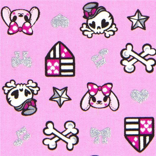 pink glitter skull fabric bunny stars