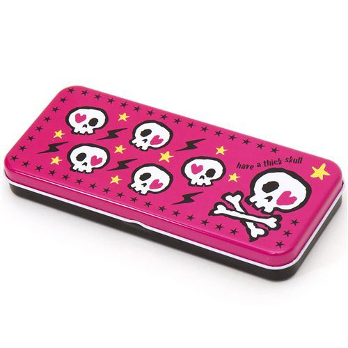 pink skull stars pencil case tin case Cram Cream