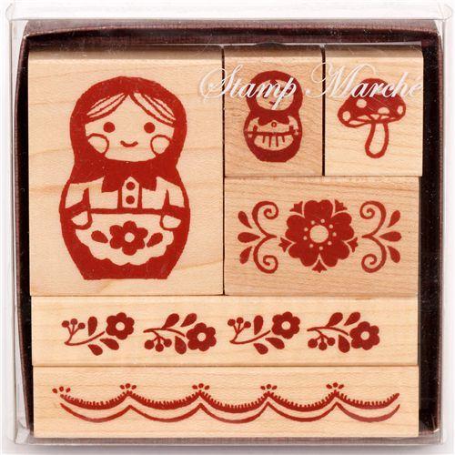 cute wooden stamp set matryoshka flowers