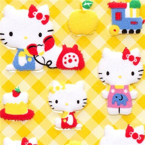 Hello Kitty felt puffy sticker with toys