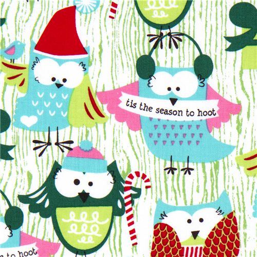 Michael Miller Christmas fabric Santa Claus owls