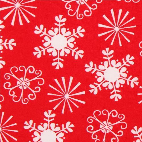 red Michael Miller Christmas fabric Little Flakes