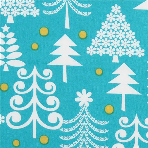 turquoise Michael Miller Christmas fabric Holiday Trees