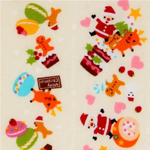 white kawaii Christmas fabric Santa Claus macaroons