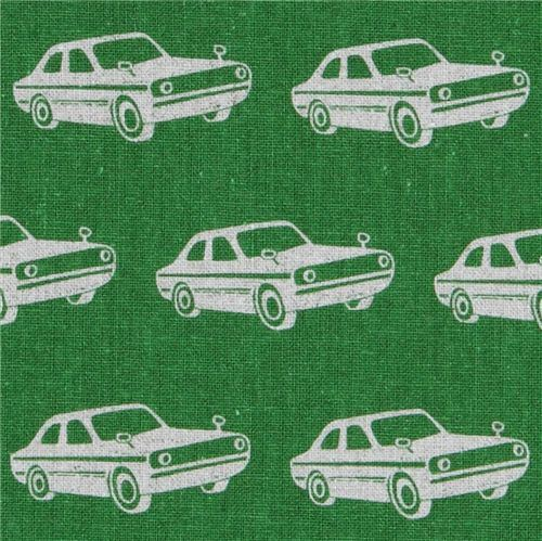 echino canvas designer fabric cars green from Japan