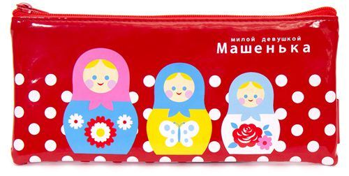 red matryoshka doll pencil case polka dots from Japan
