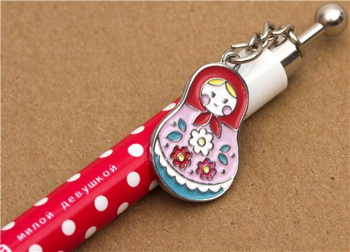 red-white polka dots mechanical pencil matryoshka