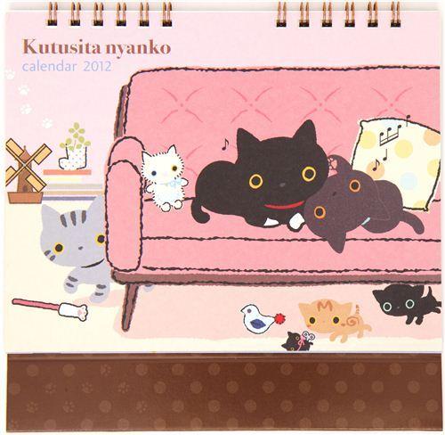 cute Kutusita Nyanko desk calendar 2012