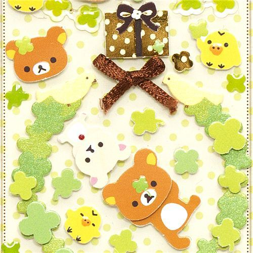 cute Rilakkuma 3D Stickers cloverleaf thank you present