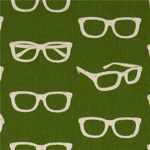echino canvas designer fabric glasses green from Japan