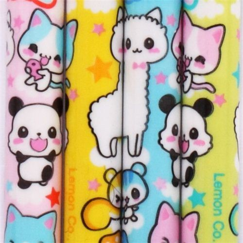 kawaii animals push pencil crayon set 5 pieces from Japan
