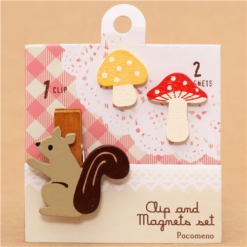 squirrel mushroom magnet and clothespeg set by Decole