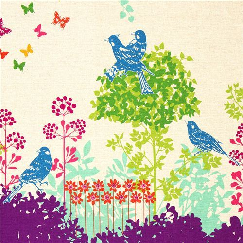 echino canvas fabric Wish purple birds flowers