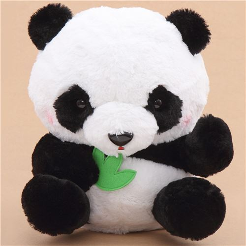 big black white panda with green leaf squeaky plush toy Japan