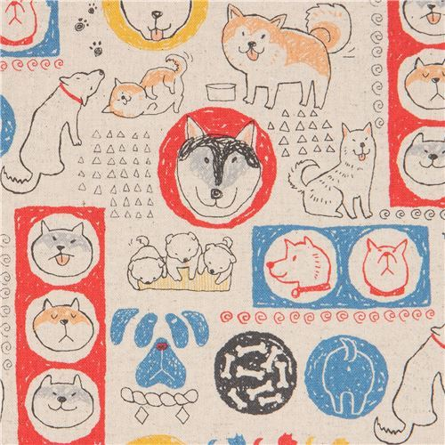 dog Canvas fabric in natural color from Japan