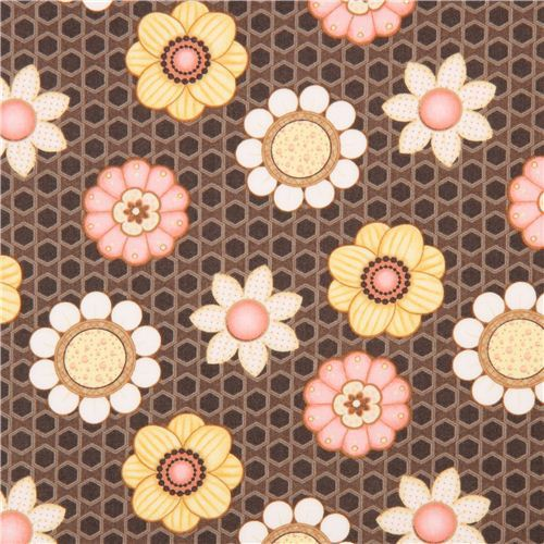 beautiful brown honeycomb flower fabric by Henry Glass