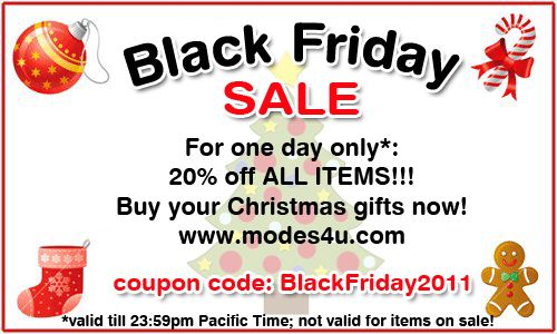 Black Friday Sale: 20% discount on ALL ITEMS
