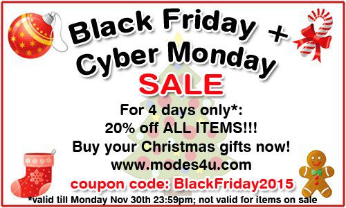 Black Friday Sale 2015. 4 days long 20% off ALL ITEMS !!! 1