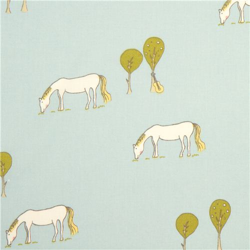 light blue birch horse organic fabric