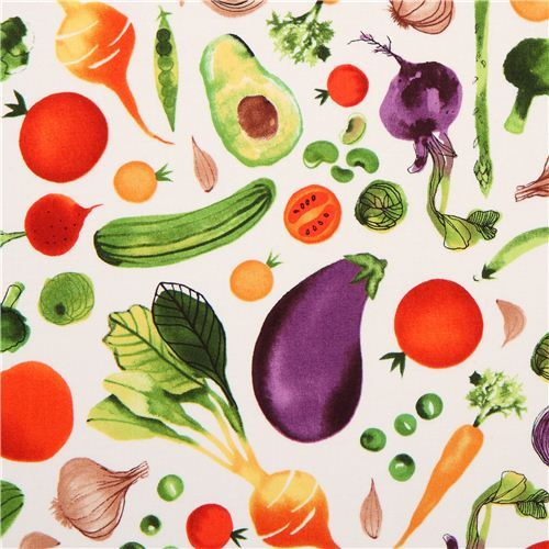 cream vegetable food fabric Robert Kaufman Metro Market Margaret Berg