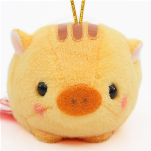small orange pig with gold color strap Chinese Zodiac Puchimaru plush charm