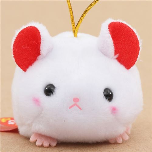 small white rat with gold color strap Chinese Zodiac Puchimaru plush charm