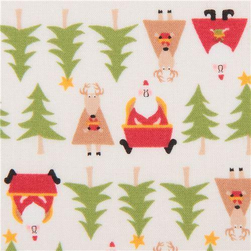 cream cute Christmas santa reindeer tree fabric