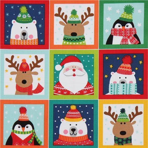 fabric with colorful reindeer polar bear square makower uk Novelty Xmas