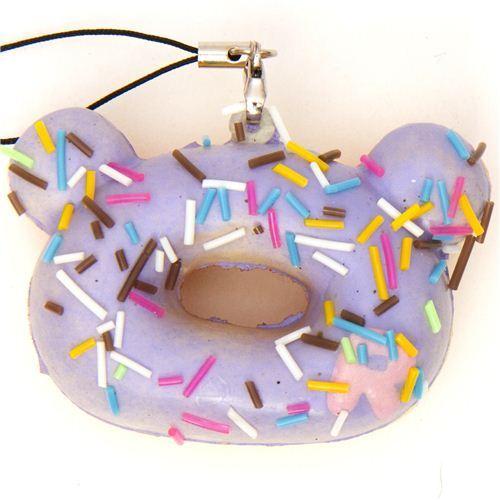 lilac Rilakkuma donut squishy cellphone charm