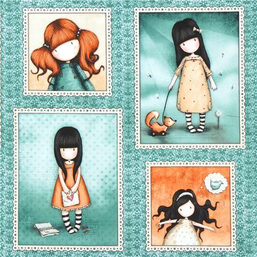 green fabric cute children picture frame Gorjuss Quilting Treasures