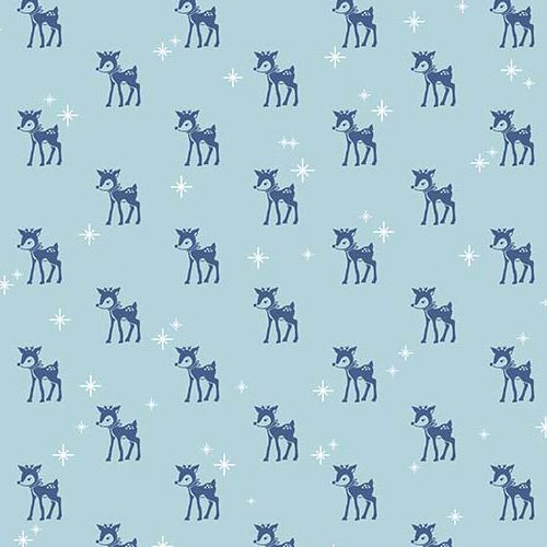 blue Riley Blake fabric small dark blue reindeer white star Cozy Christmas