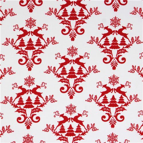white Norwegian reindeer snow Christmas fabric Winter Essentials III