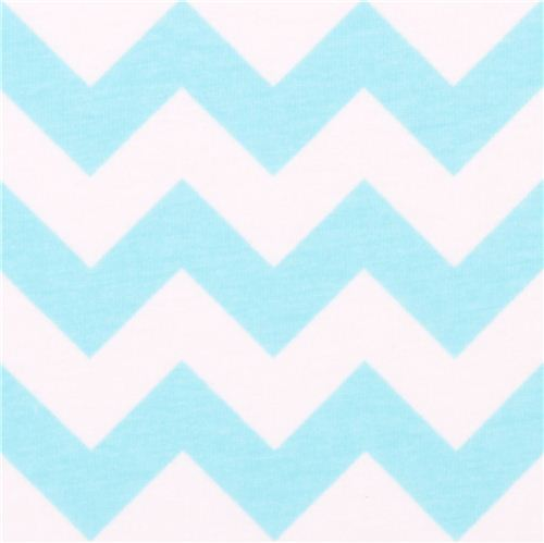white Riley Blake knit fabric with aqua blue Chevron pattern