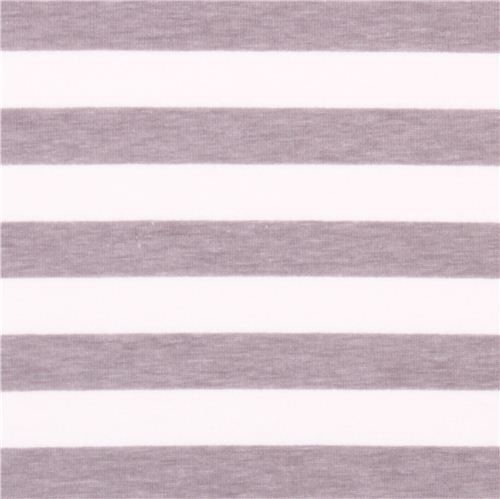 white Riley Blake knit fabric with grey thin stripes