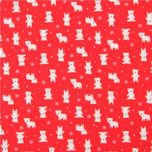 red Lecien fabric small white bear pink snowflake