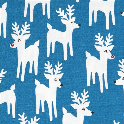 cute blue Christmas fabric reindeer Robert Kaufman