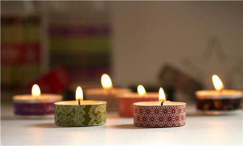 Today's Christmas craft: Washi tea light candles