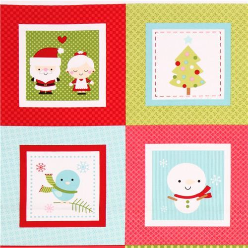 red-green Riley Blake Santa Claus panel Xmas fabric 'Santa Express'