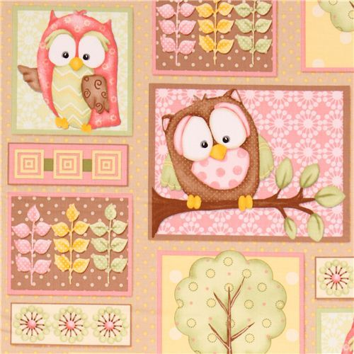 brown patchwork owl fabric You Whoo! from the USA