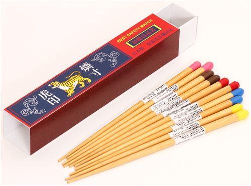 matches wooden chopstick set 5pcs tiger from Japan