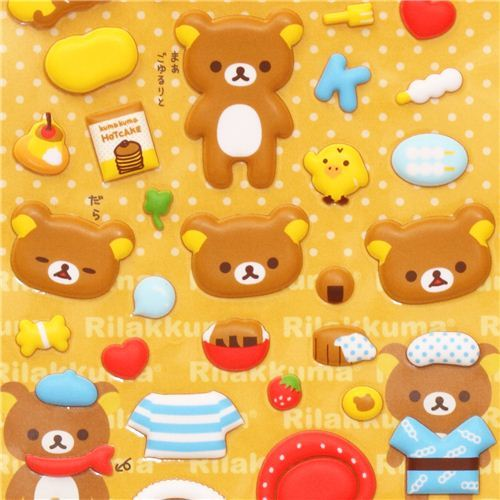 Rilakkuma brown bear puffy dress up stickers