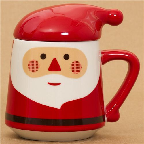 kawaii red Santa Claus cup with Christmas hat lid
