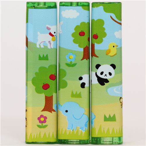 kawaii forest animals pencil caps with stickers