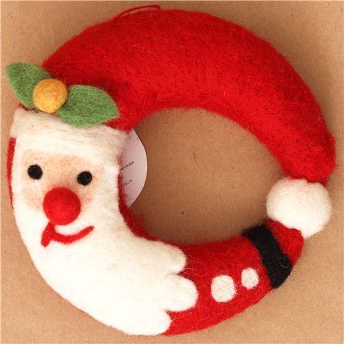 kawaii Santa Claus felt wreath door decoration Christmas