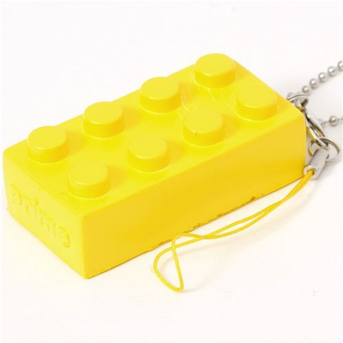 funny yellow squishy building block phone strap