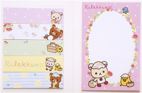 RilakkumaPost-it sticky notes book bear & flowers
