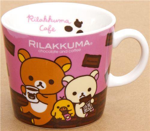 Rilakkuma bear cup with chocolate & coffee San-X