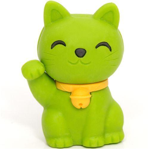 green Lucky Cat eraser Maneki Neko from Japan