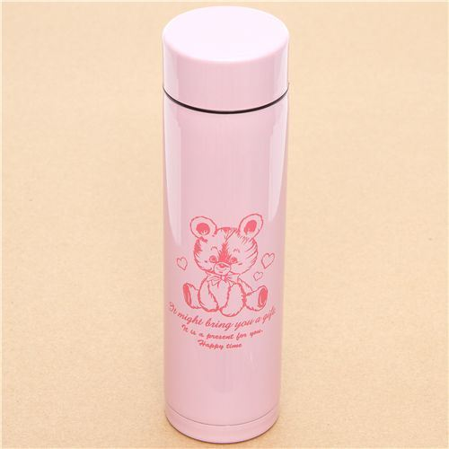 cute pink teddy bear Thermo bottle from Japan